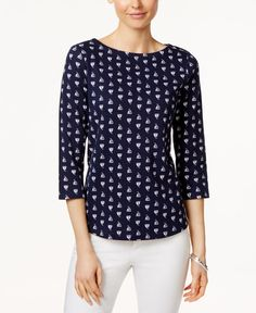 Charter Club Petite Sailboat-Print Boat-Neck Top, Only at Macy's