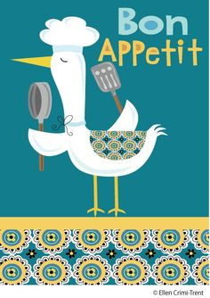 Kitchen Art Print-Bon Appetite Print. $18.00, via Etsy.    What were the odds that clicking onto a board with a quote about Paris, I ended up with a poster about eating...