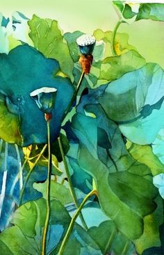 Watercolor Negative Painting, Watercolor Leaves, Watercolor And Ink, Painting & Drawing, Watercolor Paintings, Watercolors, Arte Popular, Green Art, Arte Floral