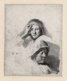 B367(III), Rembrandt, Schetsblad met drie koppen, waarschijnlijk van Saskia, ca. 1637. Ets, staat III (3), 127 x 103 mm, Museum het Rembrandthuis.