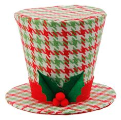 "RAZ Houndstooth & Holly Top Hat Christmas Decoration  Red, Green, White Made of Polyester Measures 7"" X 9"" X 9"" RAZ Exclusive Design For Decorative Use Only  RAZ 2016 Holly & Houndstooth Collection"