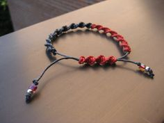 Red and Gray Twist Macramé Bracelet