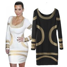Western Style Crew Neck Glitter Sheath Long Sleeve Pencil Dress