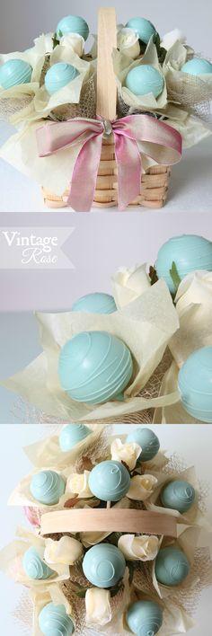 Vintage Rose GIFT BASKET Cake Pops Floral Arrangement | Bouquet | 10 set  #makeforgood