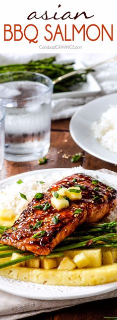 sweet and tangy Asian BBQ Salmon dripping with flavor from the most INCREDIBLE glaze but one of the easiest meals to throw together! Delicious enough for company, easy enough for everyday. Best Bbq Recipes, Barbecue Recipes, Grilling Recipes, Cooking Recipes, Healthy Recipes, Barbecue Grill, Salmon Recipes, Fish Recipes, Seafood Recipes