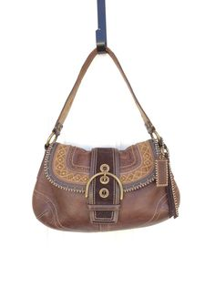 Coach Soho Chestnut Leather Stitch Flap Dark Brown Number 10479 #Coach #Hobo
