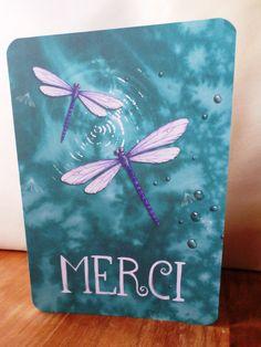 Carte double Libellule 'Merci' fait main 21cm x 15cm : Cartes par card-bubble
