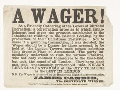 Handbill or flyer announcing 'a wager' to find the most entertaining christmas theatrical production or pantomime in east London. The winner is announced on the flyer as Nelson Lee's pantomime at the City Theatre in Grub Street. Grub Street changed it name to Milton Street in 1830 and is located near the present day Moorgate.