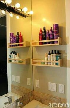 Ikea spice racks for bathroom organization -- brilliant! Ikea spice racks for bathroom organization -- brilliant! Ikea spice racks for bathroom organization -- brilliant! Ikea Spice Rack, Spice Racks, Ikea Rack, Spice Shelf, Rack Shelf, Wall Racks, Spice Rack On Wall, Spice Rack Plans, Apartment Decoration