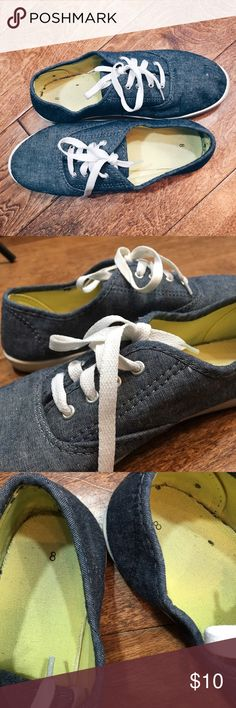 Denim Canvas Shoes Denim colored canvas shoes with white laces. Worn & in need of a wash from storage but in GREAT condition & no scuffs or tears! Shoes Sneakers