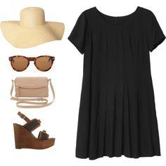 Robe noire + chapeau + lunette et petite chaussure et grand sac a la place .. Tenue parfaite pour l'été ..