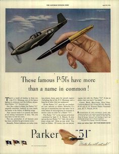 Ministry of Plenty: The Famous P-51's Have More than a Name in Common! #Parker