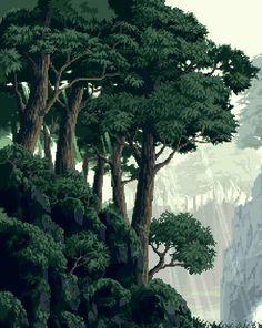 Trees Forest Pixel Art Pixels Pixel Background Pixel Art Pixel in Vaporwave Gif Landscape Nature Pixel Art Background, Forest Background, Gifs, Katsura Kotonoha, How To Pixel Art, Arte 8 Bits, Pix Art, Pixel Animation, 8 Bit Art