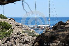 Beautiful boat floating in Cala de sa Calobra, Majorca, Spain