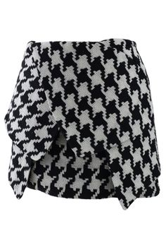 Asymmetric Houndstooth Bud Skirt - Skirt - Bottoms - Retro, Indie and Unique Fashion