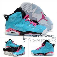 Nike Air Jordan 6 | Classique Chaussure De Basket Homme Bleu Clair/Rose Lacet