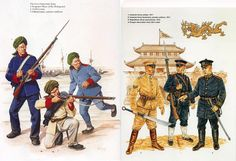 Chinese army was forced to modernize after several defeats. Here are some of their uniform changes between the years 1860-1900 .
