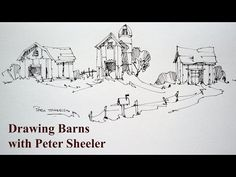 How to draw barns, 3 different barns, quick easy and fun at 4x speed. With Peter Sheeler - YouTube