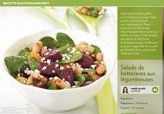 Salade de betteraves aux légumineuses - La Presse+ Beets, Fruit Salad, Tofu, Acai Bowl, Potato Salad, Healthy Eating, Potatoes, Vegetarian, Dishes