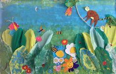 VERT Un atelier Enfants en l'honneur du printemps et de l'aventure. Gouache utilisée pour le fond ; papier crépon découpé sous forme de grandes feuilles équatoriales et peintes. Dessins fleurs, insectes et lémurien dessinés aux feutres.