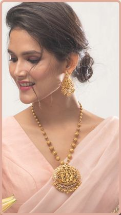 If you love traditional and elegant Indian jewelry, this temple style pendant set is a perfect choice for you. With high-quality plating and detail craftsmanship this gorgeous temple jewelry is made with Cubic Zirconia stones to give you a stunning look. This necklace set is perfect choice for weddings and festivals. Wear it on silk saree or lehenga for a classic look. Gold Earrings Designs, Gold Jewellery Design, Necklace Designs, Necklace Set, Gold Necklace, Indian Jewelry Sets, Gold Jewelry Simple, Temple Jewellery, Pendant Set