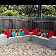 Cement block bench-stucco with some pillows on top it would be gorgeous Do this at the park with couches and table with a drop in fire pit in the table and when we are done with them they can go like this in Kayte's backyard