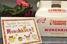 """Thanks for taking care of our munchkins!"""