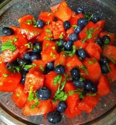 mint blueberry watermelon salad - - PLUS 4 more healthy and quick recipes that include berries!