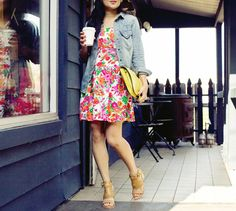 Floral dress, chambray shirt, nude sandals, and yellow clutch. So cute!