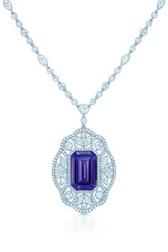Necklace in platinum with a 14.63-carat emerald-cut tanzanite and diamonds.#TiffanyPinterest #TiffanyBlueBook