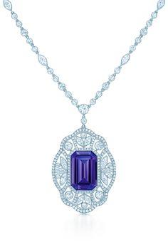 Necklace in platinum with a 14.63-carat emerald-cut tanzanite and diamonds.#TiffanyPinterest #TiffanyBlueBook