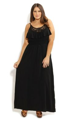 This floor skimming Lace Motif Maxi dress features a scoop neckline, thin adjustable straps, a shirred waistband, frill on bodice and cute keyhole detail on the back. The eye catching floral crochet and lace detailing gives this dress a special edge. Plus Size Occasion Dresses, Plus Size Black Dresses, Plus Size Outfits, Curvy Girl Fashion, Plus Size Fashion, Womens Fashion, Curvy Outfits, Dress Outfits, City Chic