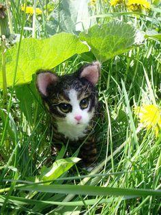 """NATALIA KUZNETSOVA - (artwool) -- """"Kitten"""" -- May 11, 2010 -- 14 cm. (+ tail).  Handmade."""