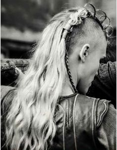 My favorite #hairstyle on #Vikings Thorrin Season 3 #sideshave #braid #loop this braid uses craft wire in the braid to get these loops. Just gorgeous!
