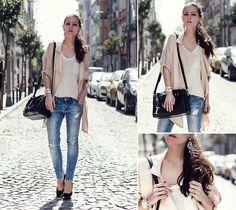 Style Inspiration : Vanilla Cream  >>> Sheinside Coat, Persunmall Earrings, Mango Top, Zara Jeans