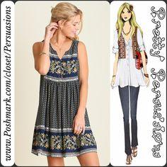 SALE Floral Border Print & Lace Back Boho Dress 2 MEDIUM'S LEFT!! DON'T MISS OUT!!! item # 1/1-0390BPLD Pretty Persuasions Dresses