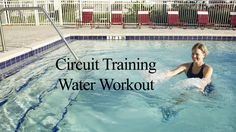 Water aerobics strength training circuit. 5 strength exercises combined with jumping jack between sets for cardio and coordination. The exercises in this vid...