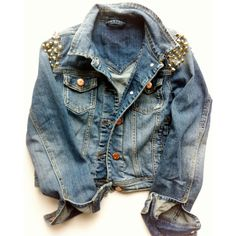 Vintage Distressed Studded Denim Jean Jacket ($75) ❤ liked on Polyvore featuring outerwear, jackets, tops, shirts, cropped denim jacket, blue jackets, distressed denim jacket, cropped jacket and blue jean jacket