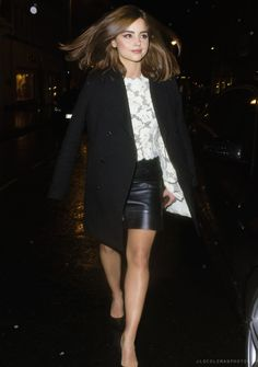Jenna Coleman leaving Louis Vuitton's pre-BAFTA dinner in London, England (13.02.16)