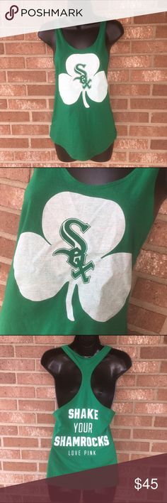 VS Pink White Sox Shamrocks tank top size xs Victoria's Secret Pink Chicago White Sox Shake Your Shamrocks tank top size xs. IMO runs big; fits loose/relaxed.  Cute for St Patrick's Day!!!  Overall good used condition! Tiny tiny hole in the back through the pink brand/size tag and goes through the back of the shirt. IMO not noticeable! PINK Victoria's Secret Tops Tank Tops