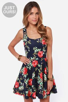 LULUS Exclusive Home Before Daylight Navy Floral Print Dress at LuLus.com!