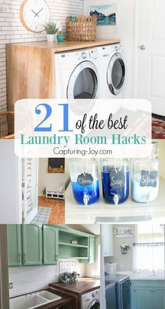 21 of the Best Laundry Room Hacks. Great tips and ideas for storage, organization, and decor! Capturing-Joy.com