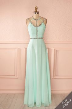 Medi - Aqua halter gown with large crystals