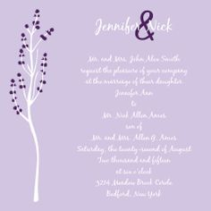 The Tree Blossoms wedding invitation with its cherry blossoms that can be personalized to match almost any wedding color makes a gorgeous spring wedding invite.