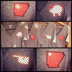 Cute Arkansas and Razorback shirts by TwoGensCreations on Etsy