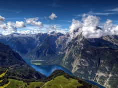 Königssee, Bavaria, Germany, the mountain in the clouds being the famous and feared Watzmann