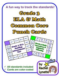Common Core Punch Cards for Grade 3: Here is an easy way for your students to track which Common Core Standards they have met over the school year. Each card features a different Common Core strand/domain, with the standards listed by number clockwise around the card. The cards are color-coded to help avoid confusion. Only  $3.25