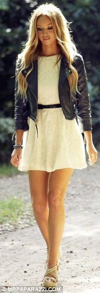 leather blazer over lace dress