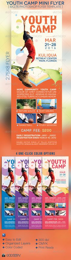 Buy Youth Camp Mini Flyer Template by Godserv on GraphicRiver. Youth Camp Mini Flyer Template is for a church or camp organization that needs a small modern and colorful flyer that. Free Flyer Templates, Event Flyer Templates, Print Templates, Brochure Design, Brochure Template, Brochure Ideas, Youth Camp, Concert Flyer, Event Flyers