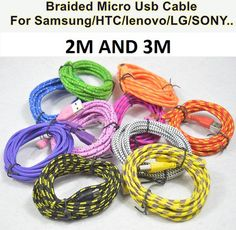 2M And 3M Micro USB Cable Braided Material Data Sync Charging Cable